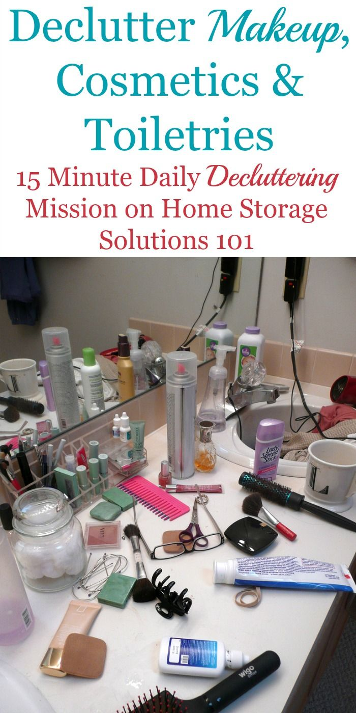 How To Get Rid Of Makeup Cosmetics Toiletries Clutter Declutter Bathroom Counter Declutter Bathroom Counters