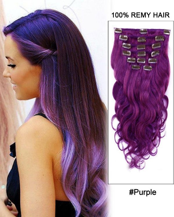 16 7pcs Purple Body Wave 100 Remy Hair Clip In Hair Extensions
