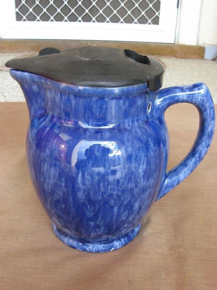 Vintage Essco Blue Mottled Ceramic Electric Jug Kettle Bakelite Lid Electric Jug Vintage Pottery Vintage Ceramic