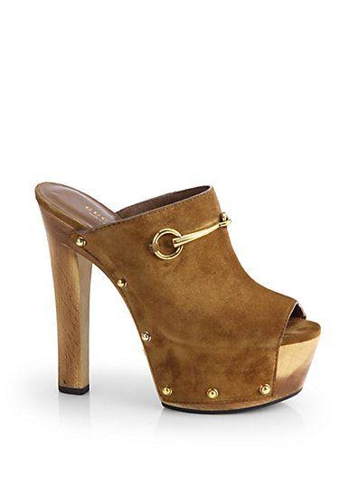 da99f9bd8 Gucci - Tess Suede Wooden Platform Clogs - Saks.com | Shoes Scarpe ...