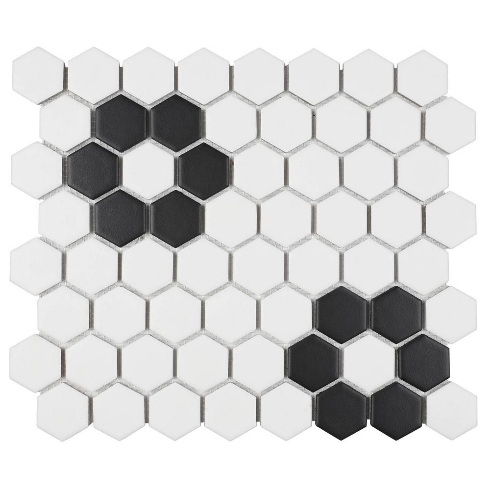 Daltile Restore Matte Black And White Hexagon 12 In X 14 In X 6 35 Mm Glazed Ceramic Mosaic Tile 1 Sq Ft Piece Re1715hexhd1p2 The Home Depot In 2020 Daltile Ceramic Mosaic