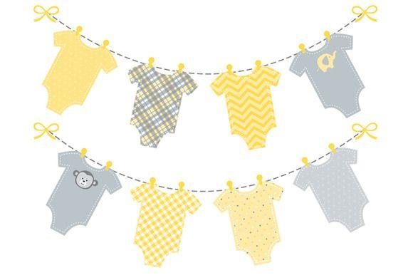 Baby Yellow Onesie Bunting Banner Banner Clip Art Baby Shower Banner Diy Baby Banners