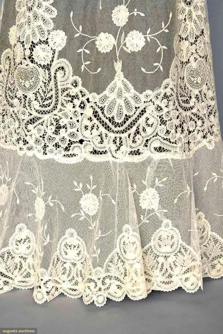 Tea Gown (image 5)   1905   Battenburg tape lace, applique princess ...