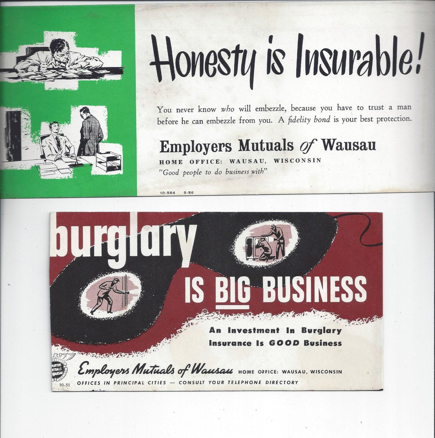 Set Of 2 1950s Vintage Employers Mutual Of Wausau Ink Blotters