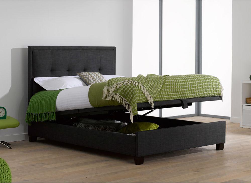 Evert Fabric Ottoman Bed Frame | Dreams - Evert Slate Grey Fabric Upholstered Ottoman Bed Frame Bed