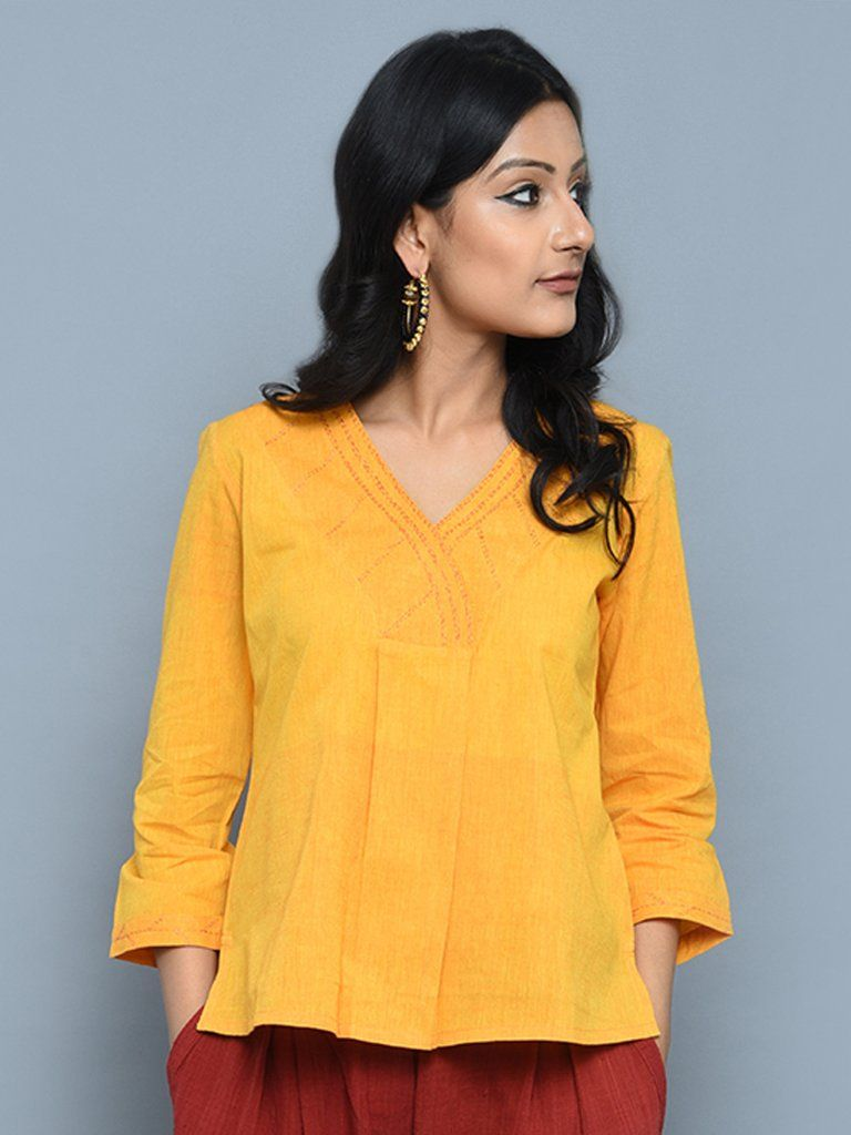 4a4076c3718 Yellow Mangalgiri Cotton V Neck Short Kurta
