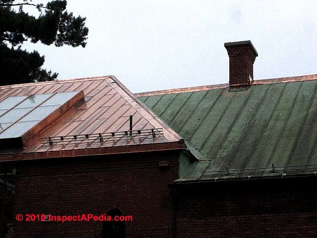 Our copper roof photograph left shows a brand new copper for Standing seam copper