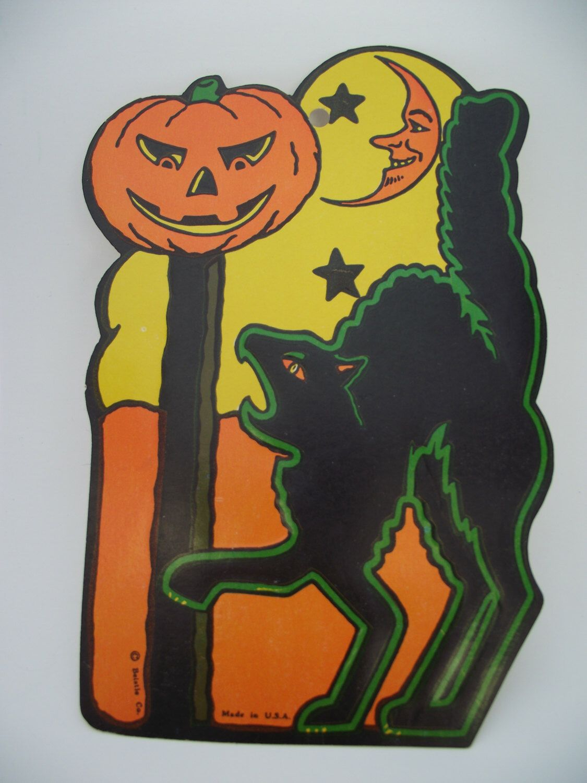 Vintage halloween paper decorations - Vintage Halloween Beistle Die Cut Paper Decoration Black Cat Cardboard Embossed