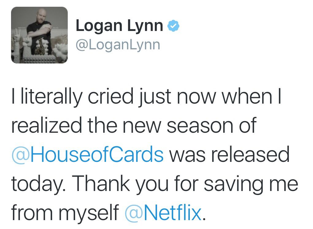 """I literally cried just now when I realized the new season of """"House of Cards"""" was released today.   Thank you for saving me from myself, Netflix.  #TV #HouseOfCards #Netflix"""
