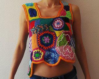 Crochet vestido túnica hippie gitana puente retazos de suéter