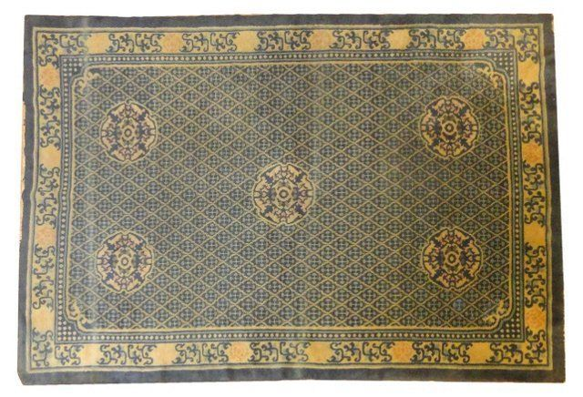 """Antique Chinese Rug,  8'8"""" x 6'"""