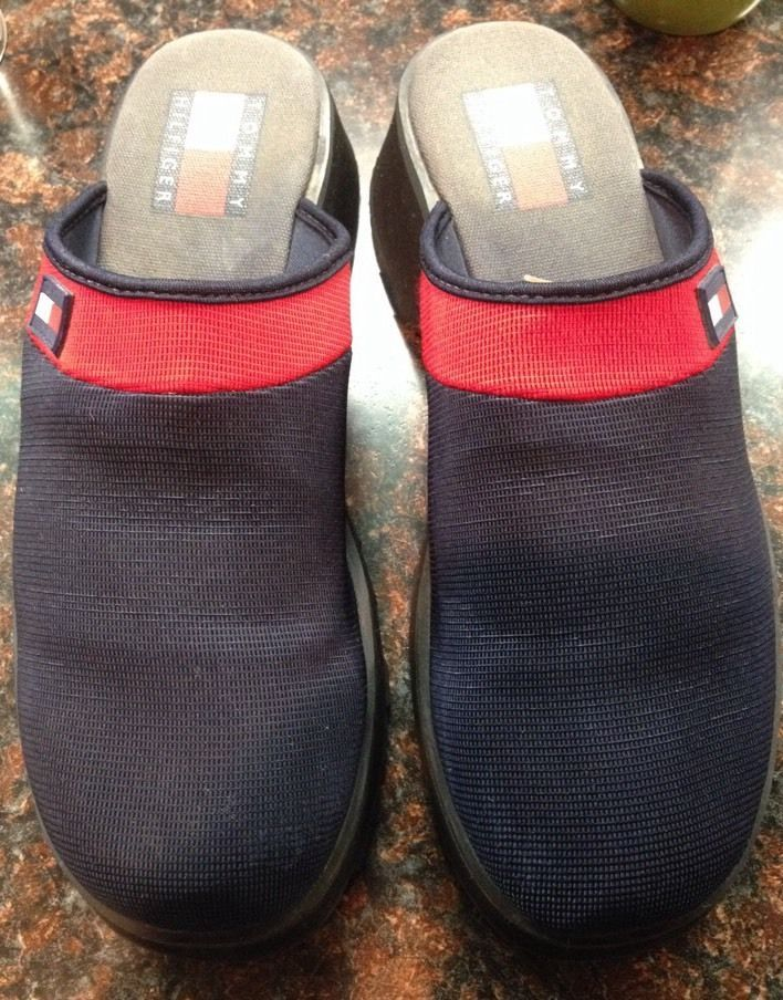 811aeb92b65f40 Tommy Hilfiger Womens Navy Blue And Red Clogs Mules Size 7.5  TommyHilfiger   Mules