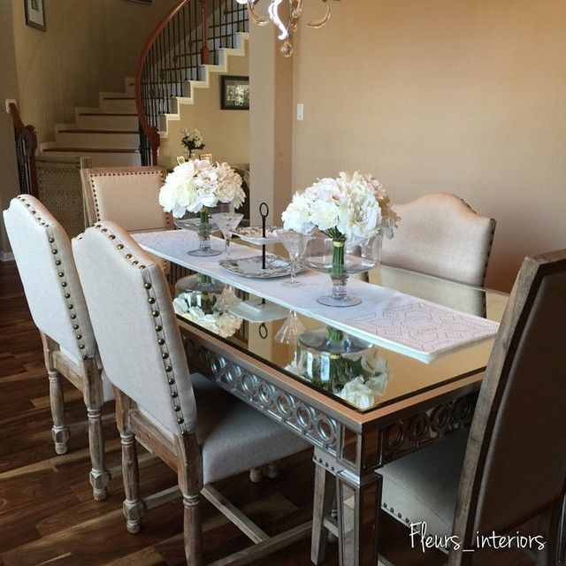 Mirrored Dining Room Set: Rustic Meets Glam In This Space By @fleurs_interiors!