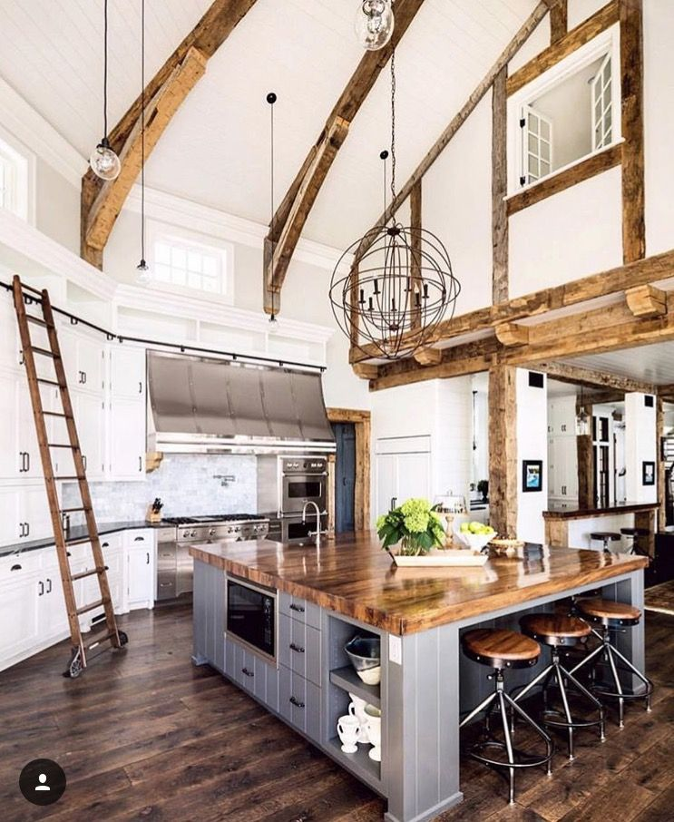 Industrial Style Kitchen Island: Multi-ring Round Light Fixture. Potential DIY