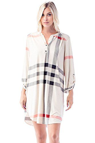 Betsy Red Couture Womens Plus Size 34 Sleeve Soft Knit Tunic Dress L CreamBlackRed Plaid >>> Read more reviews of the product by visiting the link on the image.