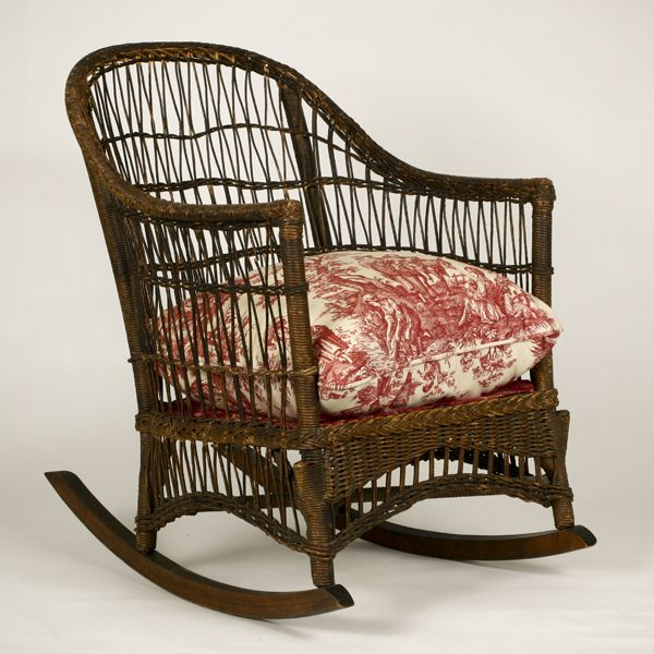 Wondrous Toile Upholstered Chair Natural Wicker Rocker Rocking Spiritservingveterans Wood Chair Design Ideas Spiritservingveteransorg