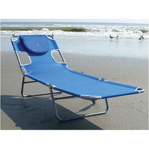 Walmart - Ostrich Chair Folding Chaise Lounge It's the perfect chair for laying out in the sun...the pillow part flips back to reveal a padded face opening so you can lay on your stomach in comfort and even read or whatever (that's what the arm holes are for). Can't wait for mine to get here!