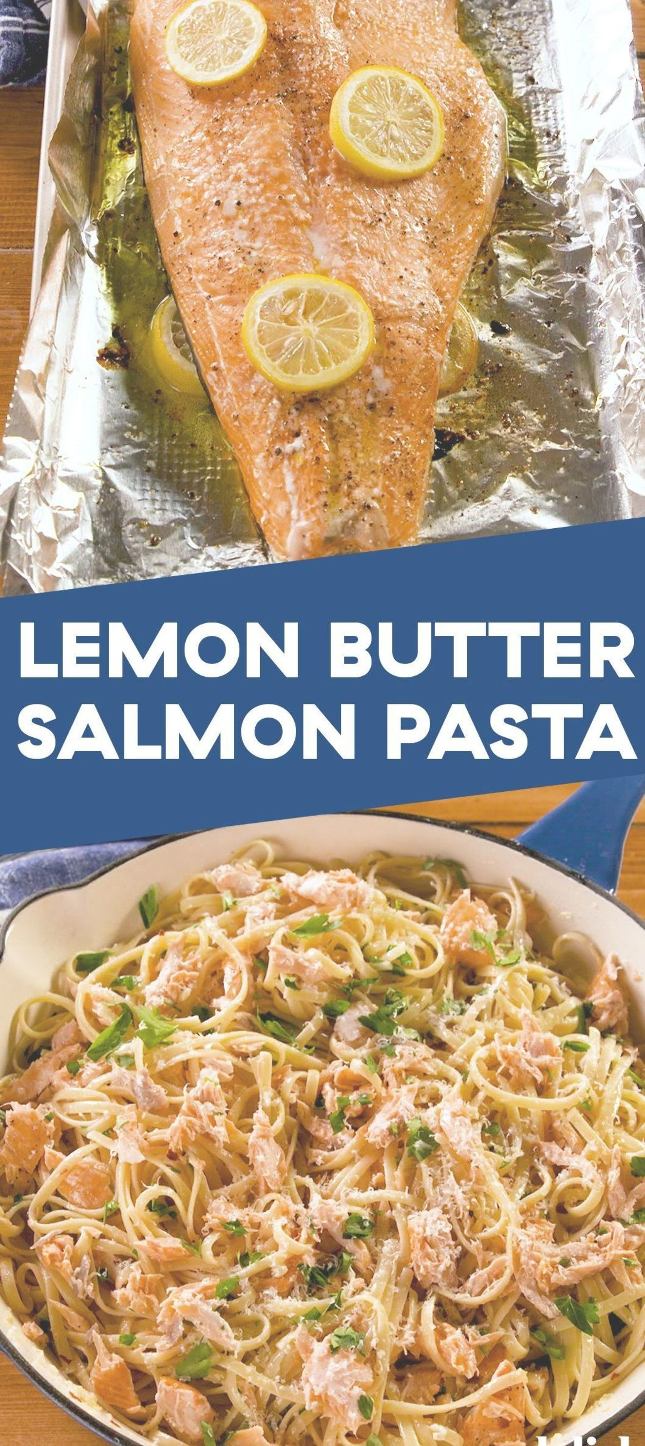 Lemon Butter Salmon Pasta is the fanciest comfort food weve ever had Get the recipe at