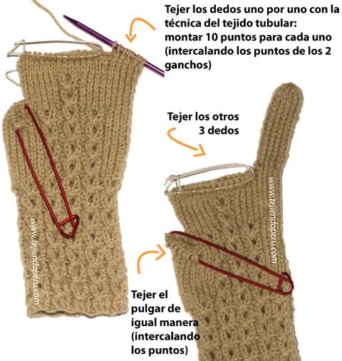 Cómo tejer guantes en dos agujas o palitos en forma tubular! | Dos ...