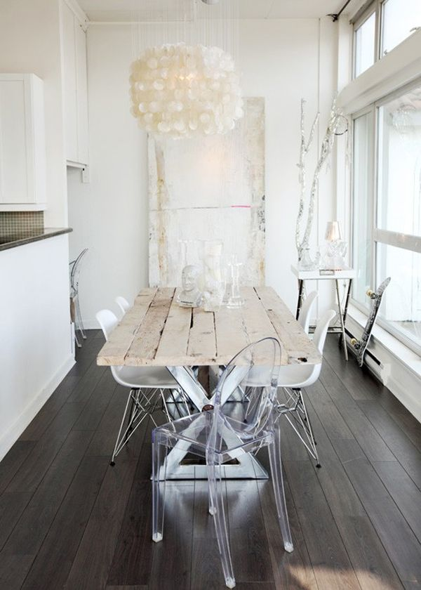 acrylic reclaimed wood shell chandelier vintage floors and white on white