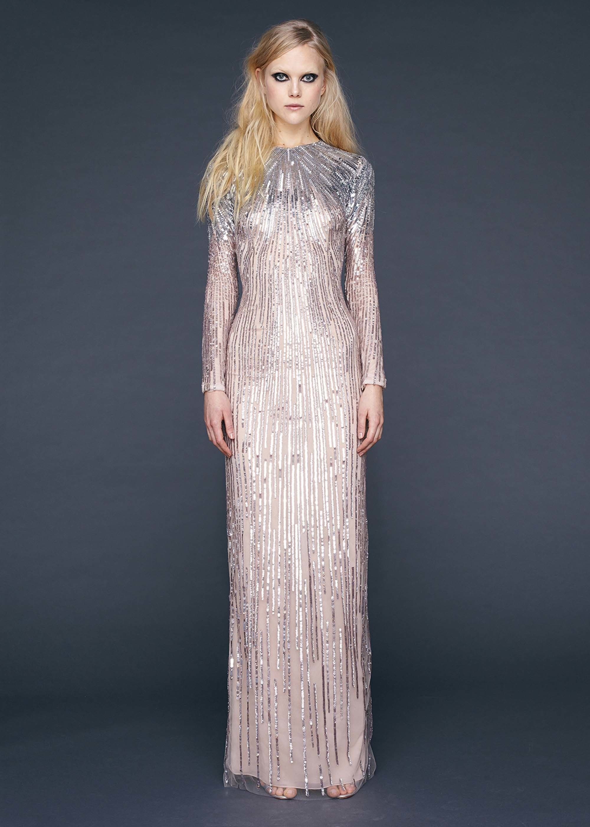 Reem Acra | Pre-Fall 2016 | 03 Pale pink sequined long sleeve maxi dress
