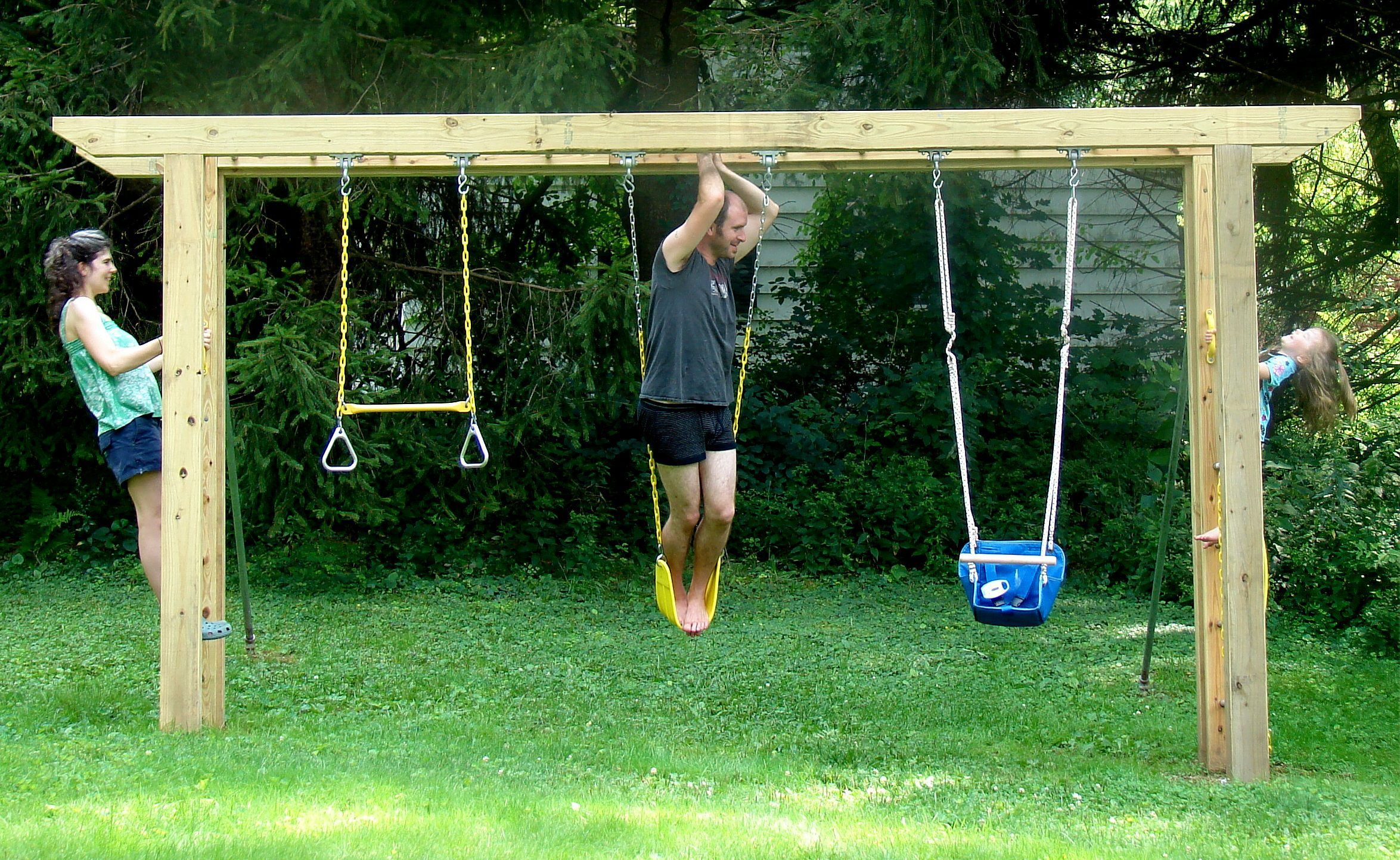 Arbor Swing Set Diy Plans Ideas For Playhouse Simple Kids In Backyard Swingset Swingsetplans