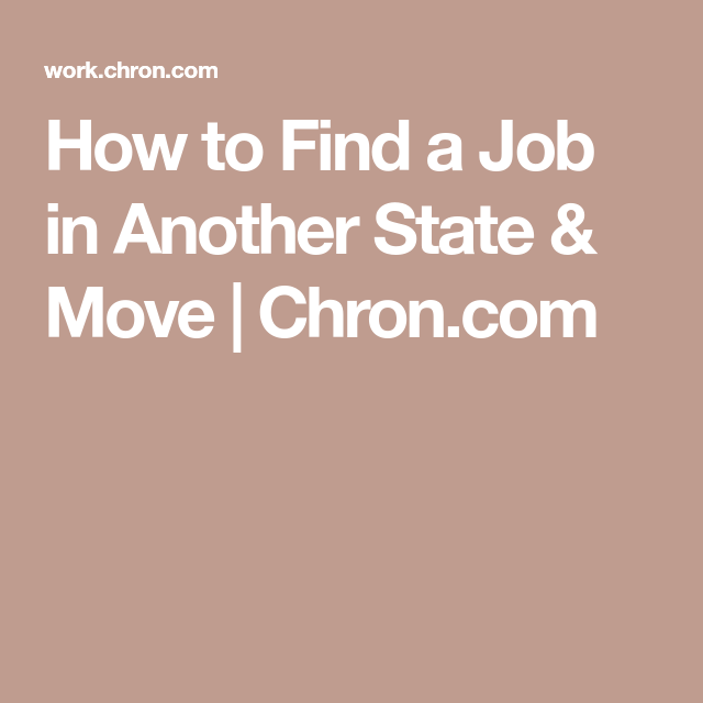 getting a job in another state