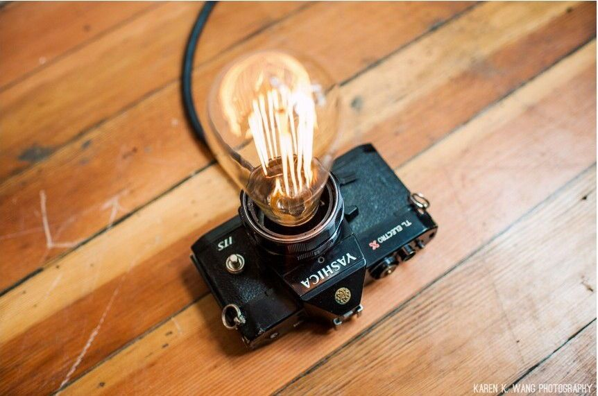 By Jerome Love Do You Have An Old Film Camera Lying Around You May Have Bought It At A Thrift Store Or Antique Store To Revi Camera Lamp Diy Lamp Diy