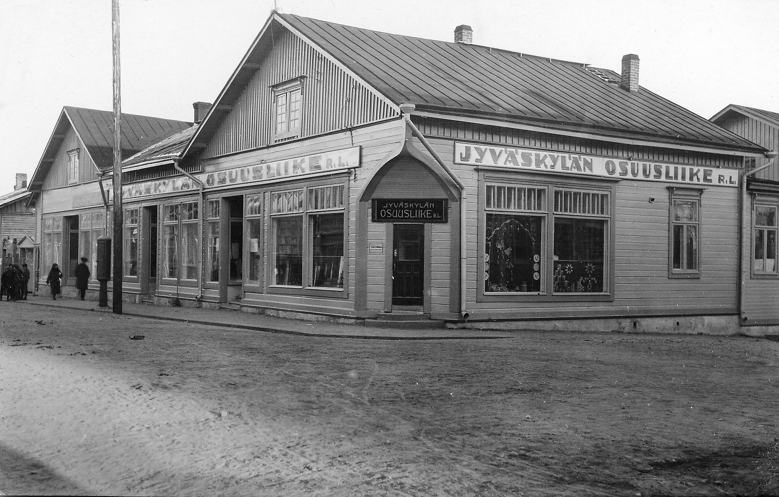 Jyväskylän Osuusliike vuonna 1920. Samalla paikalla toimii nykyään Sokos.