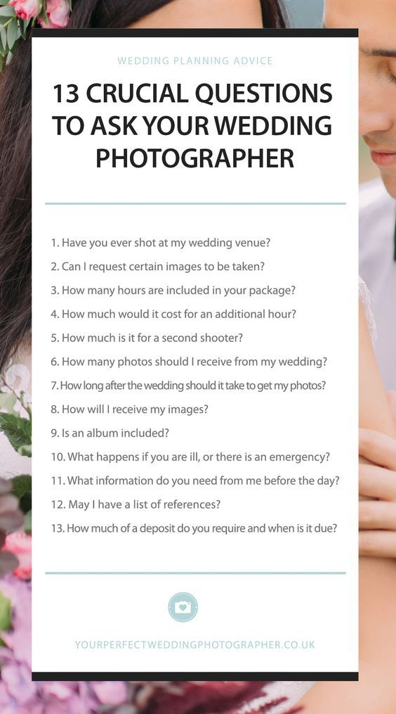 13 Crucial Questions To Ask Your Wedding Photographer Ultimate List