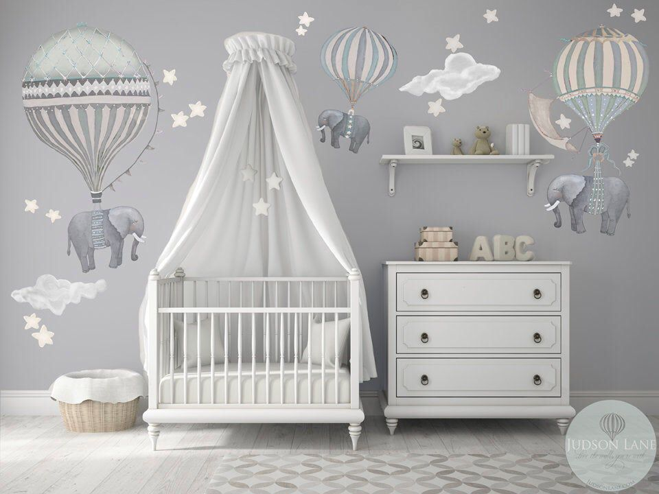 New Large Xl Set Of 3 Elephants Hot Air Balloons Neutral 3 Etsy Baby Room Decor Baby Room Wall Baby Boy Room Nursery