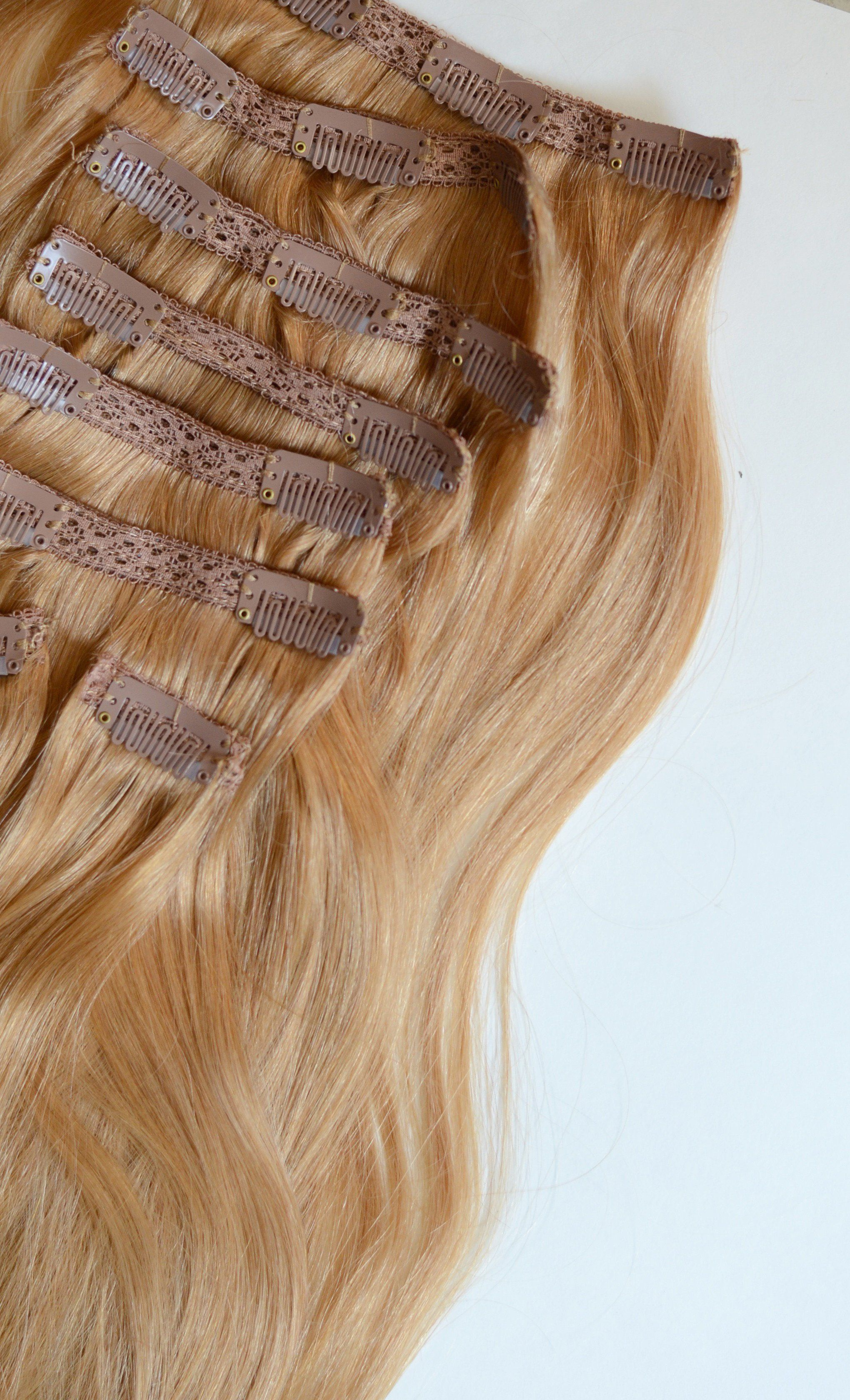 Strawberry Blonde Clip In Hair Extensions 20 Inch Set