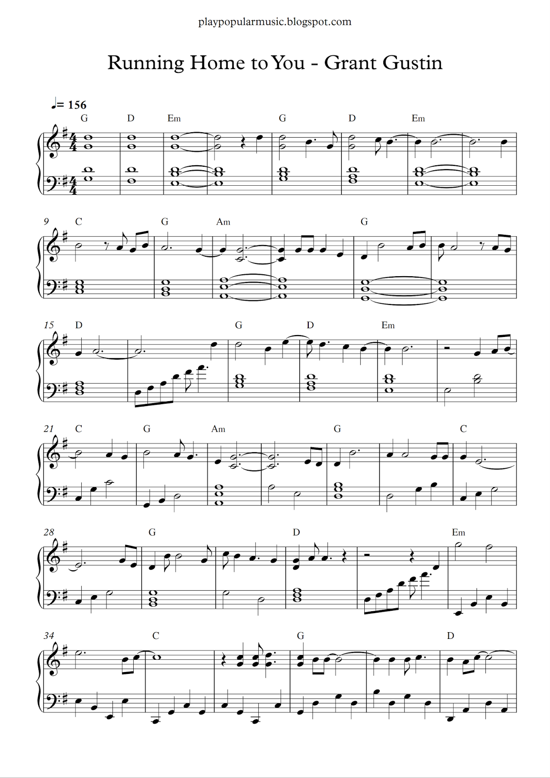 Free Piano Sheet Music Grant Gustin