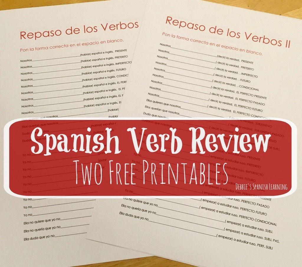 Reviewing Verb Tenses Free Printables