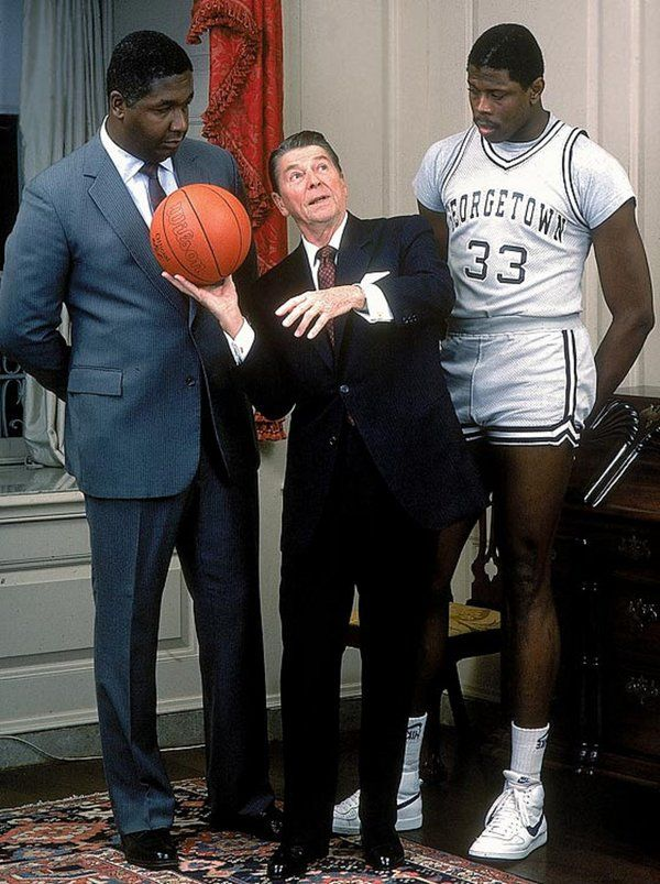 President Reagan With Patrick Ewing And John Thompson In The White