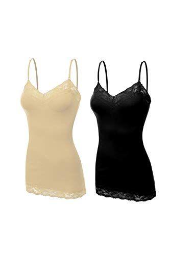 75e3a35f79 ClothingAve. Women's Lace Trim V-Neck Cotton Blend Camisole Tank Top ...