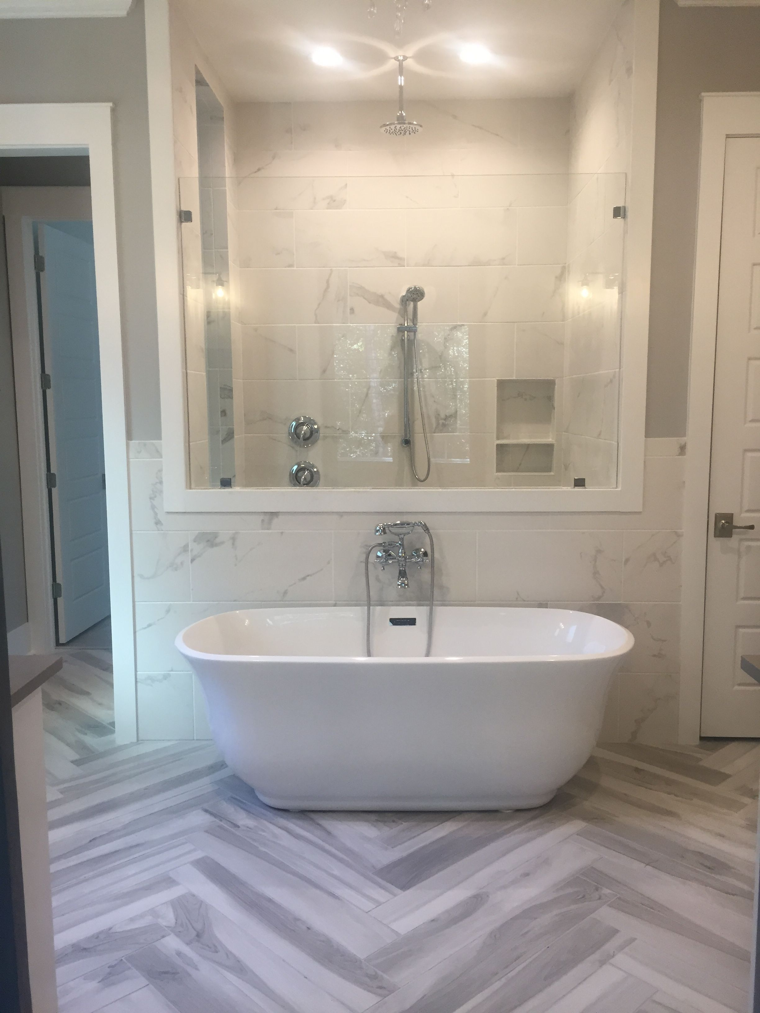 Master Bathroom With Free Standing Soaker Tub Herringbone Plank