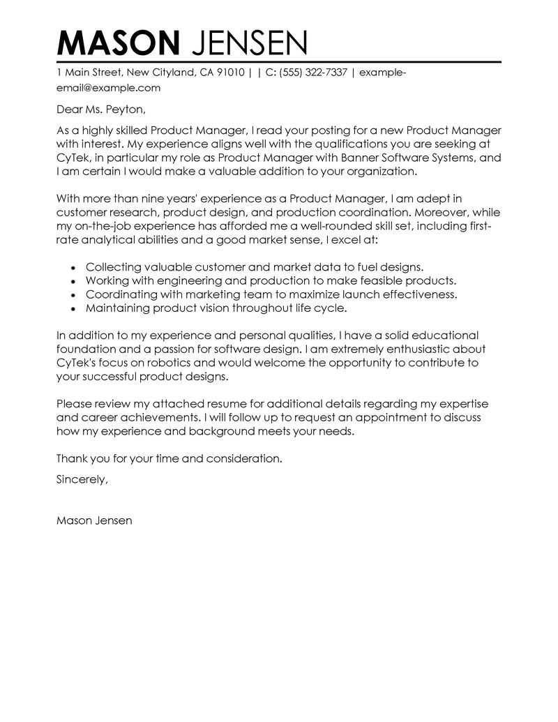 Best Product Manager Cover Letter Examples Livecareer Choose