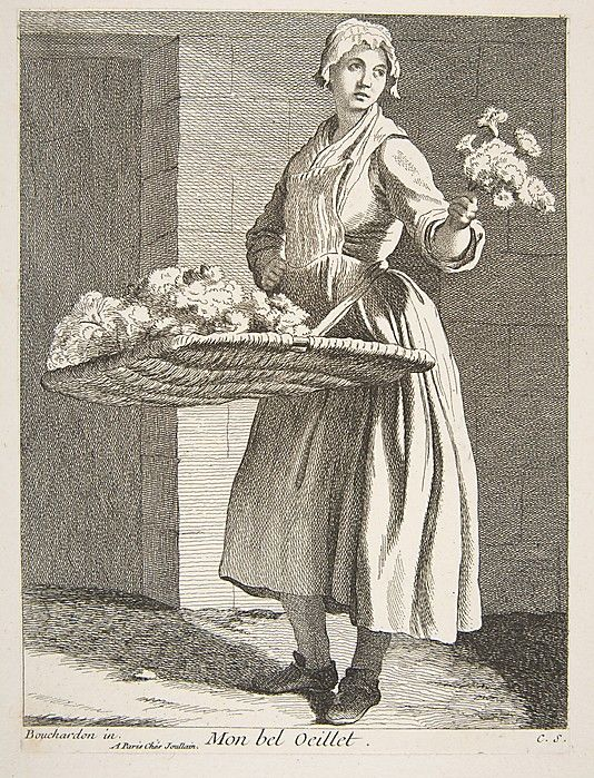 Flower Seller, Anne Claude de Tubieres (1692–1765). Etching with some engraving, 1738. The Metropolitan Museum of Art, New York.