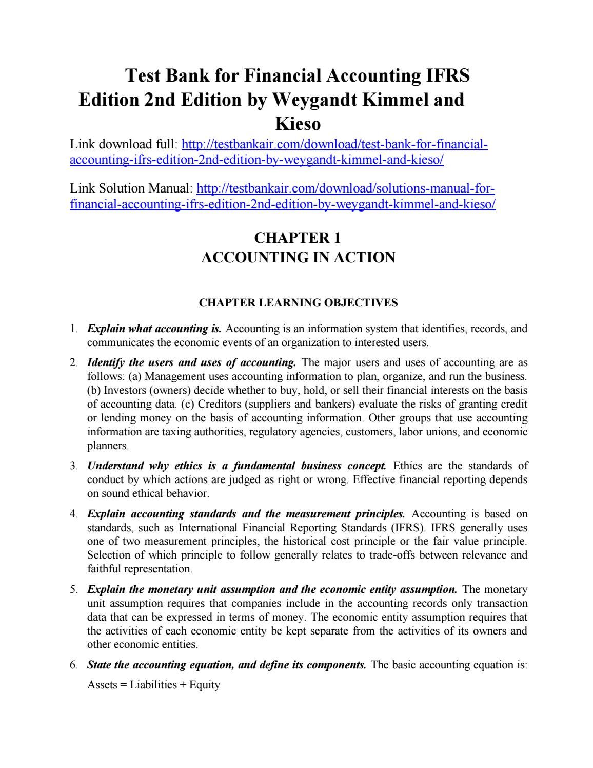 Download test bank for financial accounting ifrs edition 2nd edition by  weygandt kimmel and kieso