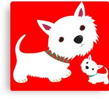 Westie & Pup Canvas Print