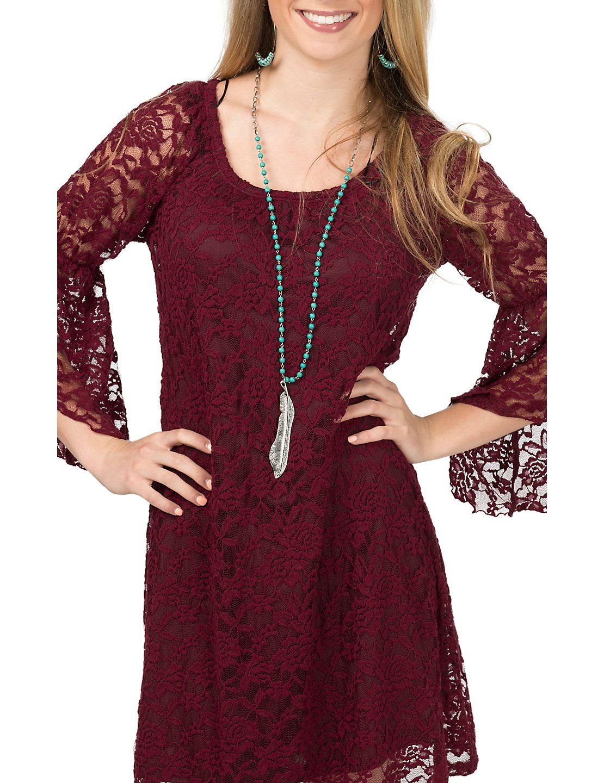 5d5b2e7e8c99 Jody Women s Burgundy Lace 3 4 Bell Sleeve Dress - Plus Sizes ...