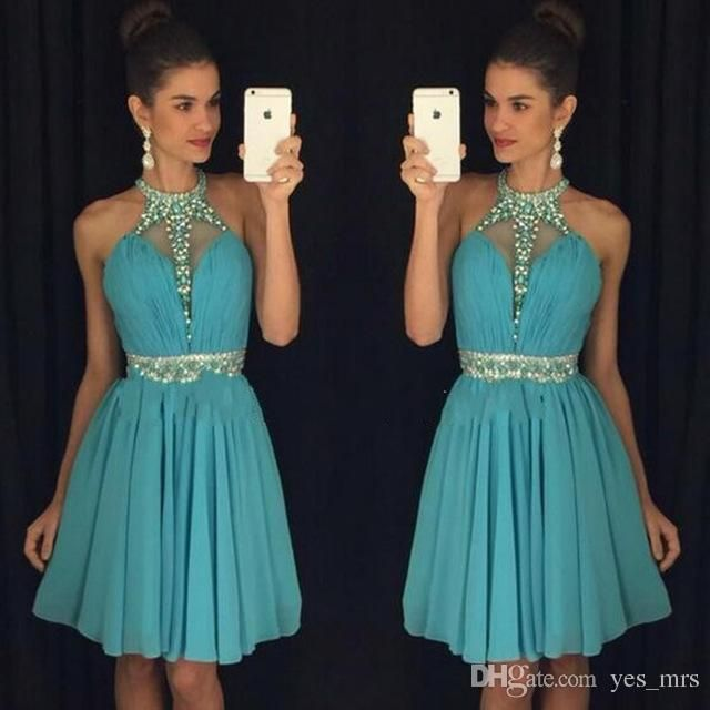 2016 New Cheap Burgundy Royal Blue Mint Cocktail Dresses Jewel Neck Illusion Crystal Beaded Homecoming Dress Party Graduation Prom Gowns Online with $99.5/Piece on Yes_mrs's Store | DHgate.com