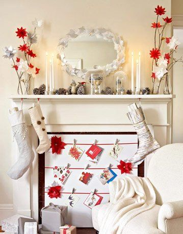 Fireplace Decorations Mantel Decorations Country Living Photo Home - christmas fireplace decor