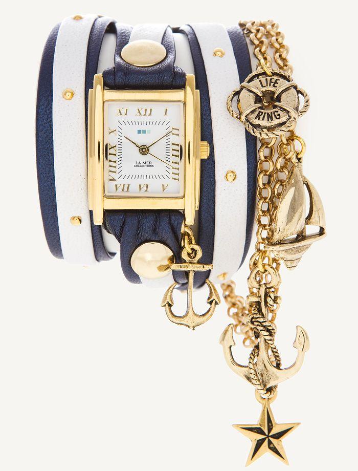 LOVE. La Mer wrap watch with nautical theme.