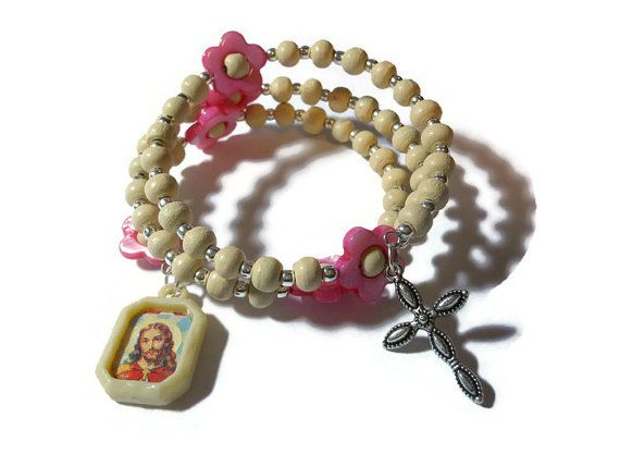 Girl's rosary bracelet Pretty in Pink five by maggiescornerstore $30  - USE CODE PIN15 to get special Pinterest savings of 15% off now