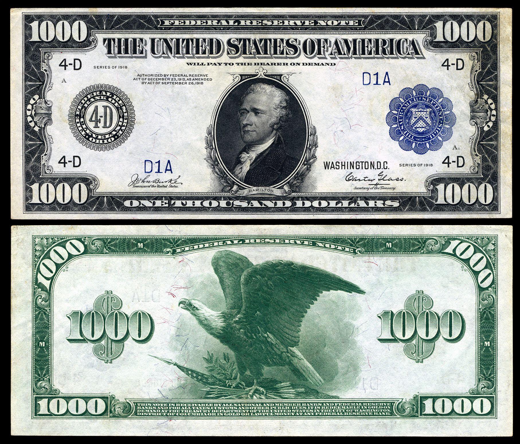 1 000 Dollar Bill Banknotes Money Paper Currency Dollar Bill