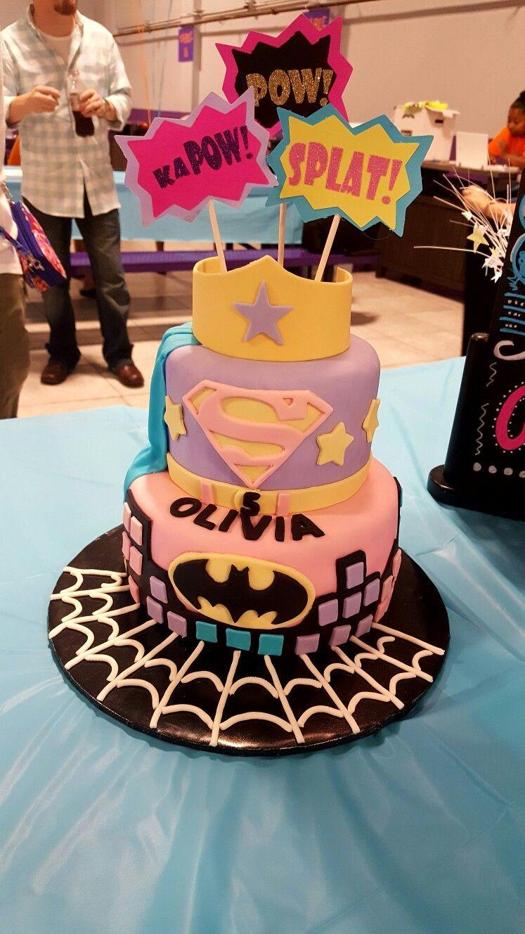 Girl superhero birthday cakes