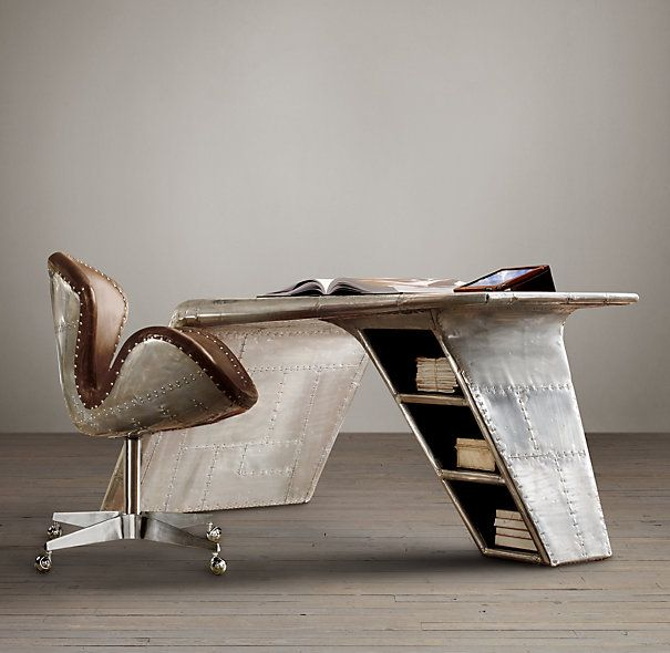 Aviator Wing Desk Inspired By Streamlined World War II Fighter Planes, This  Desk Is A Shining Swoop Of Metal, Its Shape Mimicking The Bent Wing Of A  Plane, ...