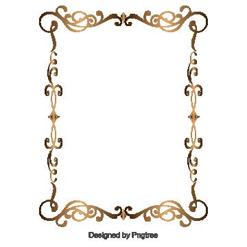 금빛 복고 테두리 장식 테두리 벡터 골든 경계 Png 및 벡터 에 대한 무료 다운로드 Gold Photo Frames Gold Frame Flower Frame Png